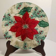 Vintage Poinsettia Decoupage Plate 8 Inches Diameter