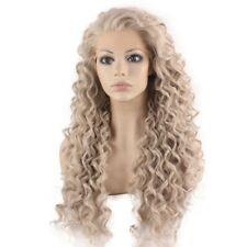 Long Curly Gray Blond Heat Safe Fiber Hair Lace Front Wig