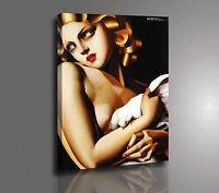 Tamara de Lempicka FEMME A LA COLOMBE Stampa su Tela - Poster - Quadro Pannello