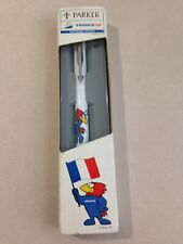 PARKER VECTOR WHITE CHROME TRIM ROLLERBALL PEN-FRANCE 98-BLACK INK-BOXED.
