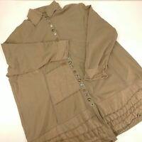 Women's 2X Neon Buddha Tan Button Down Beige Blouse Top Boho Hippie Chic Shirt