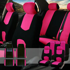 Car Seat Covers Set for Auto 5 Headrests Black Pink with Carpet Floor Mat