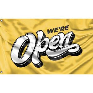 We're Open Yellow Flag Unique Design 3x5 Ft / 90x150 cm size, EU Made