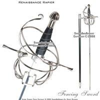 Medieval Renaissance Rapier Fencing Sword with Swept Hilt Guard LARP Costume