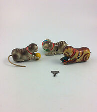 3 Vintage wind up rollover tin litho cat with ball toys  Germany