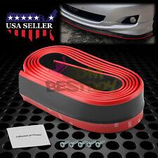 Universal Red / Black Rubber Front Bumper Lip Splitter Spoiler Chin Body Kit DIY