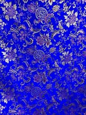 ROYAL BLUE MULTICOLOR METALLIC FLORAL BROCADE FABRIC (60 in.) Sold By The Yard