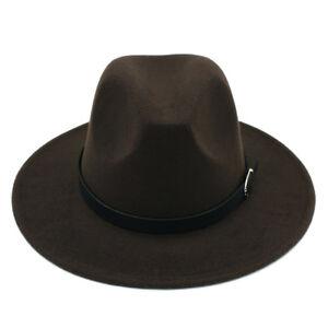 Men Women's Wool Blend Panama Hats Wide Brim Fedora Trilby Caps Belt Buckle Band