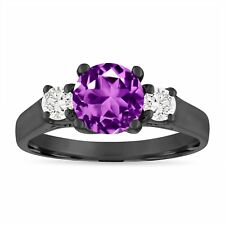Amethyst and Diamonds Engagement Ring, 1.55 Carat 14K Black Gold Certified