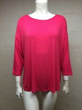MAJESTIC PARIS For Nieman Marcus Punch Pink 94% Viscose Stretch 3/4 Sleeve Sz 5