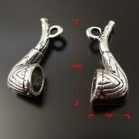 48pcs Vintage Silver Alloy Pipe Shaped Charms Pendants Jewelry Crafts 37215