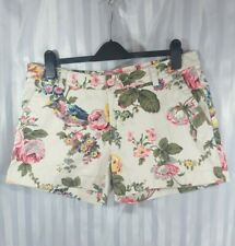 Joules Silver Flower Floral Bird hot pants Shorts Summer Holiday Size 14