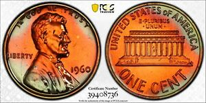 1960 LINCOLN MEMORIAL CENT 1C LARGE DATE PCGS PR 66 RB PROOF - TRUE VIEW (736)