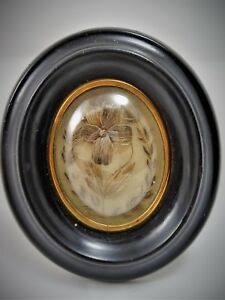 Antique French Rare  Hair Mourning  Art in Oval  Wood Frame 1880's (ref/A19/30)