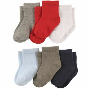 Luvable Friends Crew Socks, 6-Pack, Boy Solids