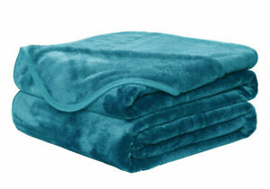 LARGE FAUX FUR TEAL THROW SOFA BED MINK SOFT WARM BLANKET - DOUBLE & KING SIZE