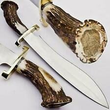 Custom Handmade D2 Steel Hunting Bowie Knife With Beautiful Stag/Antler Handle