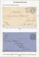 CHILE 1892-1900 COLUMBUS POSTAL STATIONERY (46) ITEMS WITH HIS PROFILE MINT/USED
