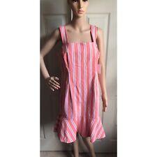 Calvin Klein Ruffled Sleeve Sheath Dress Sz 14 Peach Striped New NWT Womens