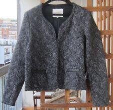 Veste doublée MAJE 40 chiné noir argenté coton empiècement cuir   2108
