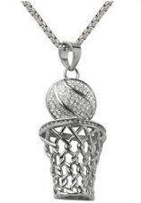 Pendant Necklace Ball and Basket Basketball Silver Rhinestone Crystal White