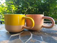 SET OF TWO Starbucks 2017 Coffee Mugs Two Tone Fun Handle Yellow Pink Great Cond