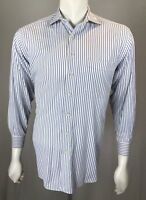 Mens Hickey Freeman 15 1/2 - 32 Medium White & Blue Shimmer Cotton Striped Shirt