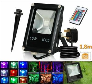 10W RGB LED Flood Light Spotlight 16 Colour Changing Garden Yard Outdoor Lamp US
