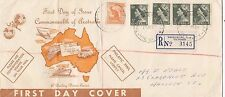 Stamp Australia 4 x 3d green QE2 issue on Neville Menz generic cachet long FDC