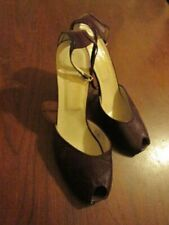 Vintage Garolini Bordeaux Leather Peep Toe Ankle Strap High Heel Pump Size 9N