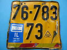 ISRAEL STATE - MOTORCYCLE LICENSE PLATE W/ ORG. ISRAEL STATE FLAG ! AUTH.UNIQUE.