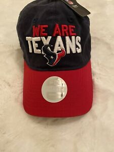 NWT $28 NFL New Era We are Texans Adjustable Hat Cap Hat 59Fifty Battle Red Blue