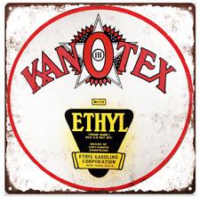 "Kanotex Ethyl Gasoline Metal Sign Ad Repro Gas Pump Garage Shop 12x12"" 60206"
