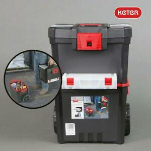 Keter Mobile Tool Chest Hammer Mastercart Tool Box Trolley 51.4L