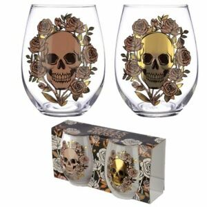 Skulls and Roses Set of 2 Glass Tumblers, Xmas Gift/Present/Stocking Filler