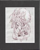 Original Hand-Drawn Tattoo Prison Art Wolfe 2000 Outsider Art