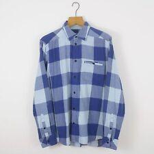 Vintage ADIDAS ORIGINALS Blue Check Flannel Shirt   Retro Trefoil   Medium M