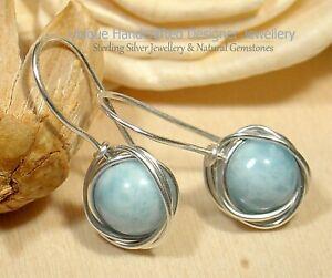 Larimar Pectolite Sterling Silver 925 Earrings Handmade #0620-2