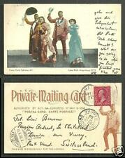 Black Americana Cake Walk (Negro Dance) stamp ca 1898 private mailing card
