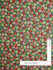 Christmas Mary Engelbreit Peppermint Flowers Cotton Fabric QT Trim Tree - 1.61YD