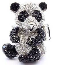 New Crystal Black White Panda Bear Cocktail Ring Silver Tone Adjustable Cute Kaw