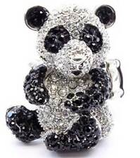New Crystal Black White Panda Bear Cocktail Ring Silver Tone Adjustable Cute