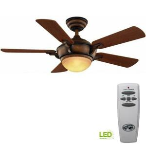 Hampton Bay Midili 44 in. Gilded Espresso Ceiling Fan with LED Light and Remote