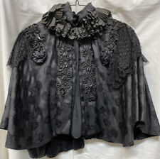 New listing Antique Victorian Jet Bead Cape Blouse Lace Opera Mourning Vintage Silk Brocade