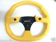 Universal Sparco Rally Estilo 350mm Amarillo plana Volante De Cuero 2 botón