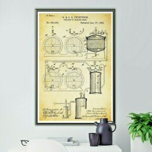 """1893 BEER Brewing Patent POSTER! (up to full-size 24"""" x 36"""") - Brewery - Barrel"""