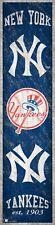 "New York Yankees Heritage Banner Retro Logo Wood Sign 6"" x 24"" Wall NYY Est 1903"