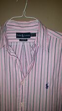 Ralph Lauren Polo Men's Long Sleeve Shirt, Blue / Pink Stripe, 16 1/2 Large