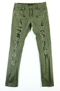 KDNK Kayden K Men's All Over Destroyed Patch Slim Fit Jeans 32