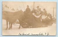 Saranac Lake, Adirondacks, NY   1909 ICE CARNIVAL SNOW SLED CARRIAGE BAND   RPPC